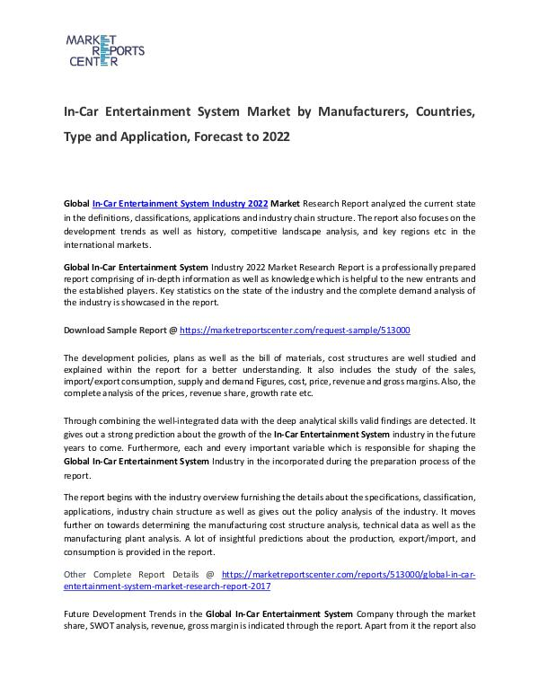 In-Car Entertainment System Market 2017 In-Car Entertainment System Market