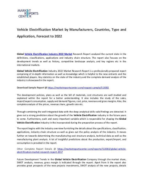 Vehicle Electrification Market 2017 Vehicle Electrification Market