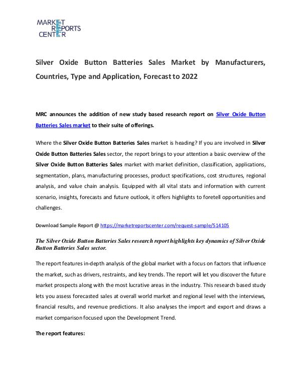 Silver Oxide Button Batteries Market Manufacturers and Forecast Silver Oxide Button Batteries Market
