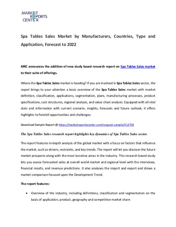 Spa Tables Market Manufacturers, Region, Application  and Forecast Spa Tables Market