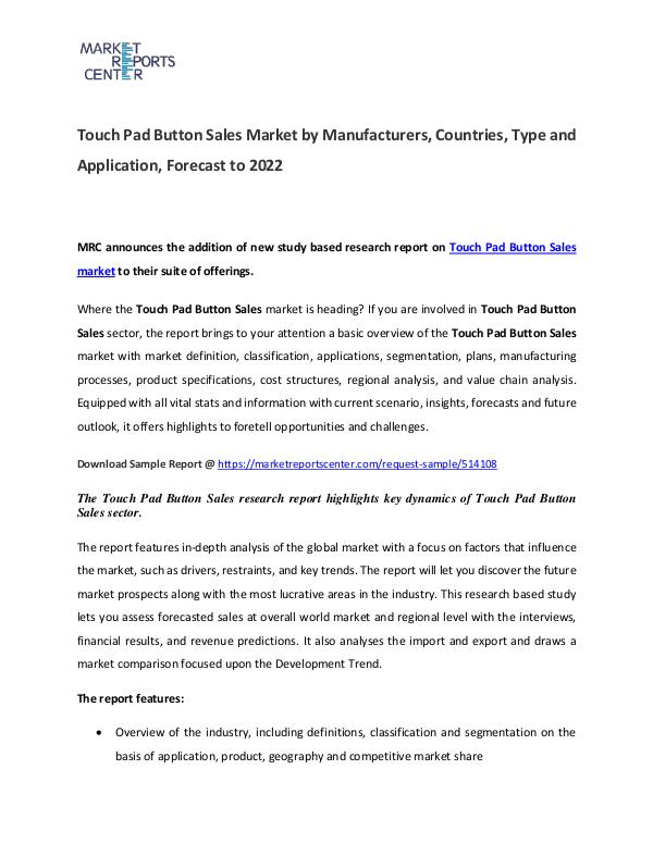 Touch Pad Button Market Manufacturers, Region  and Forecast Touch Pad Button Market