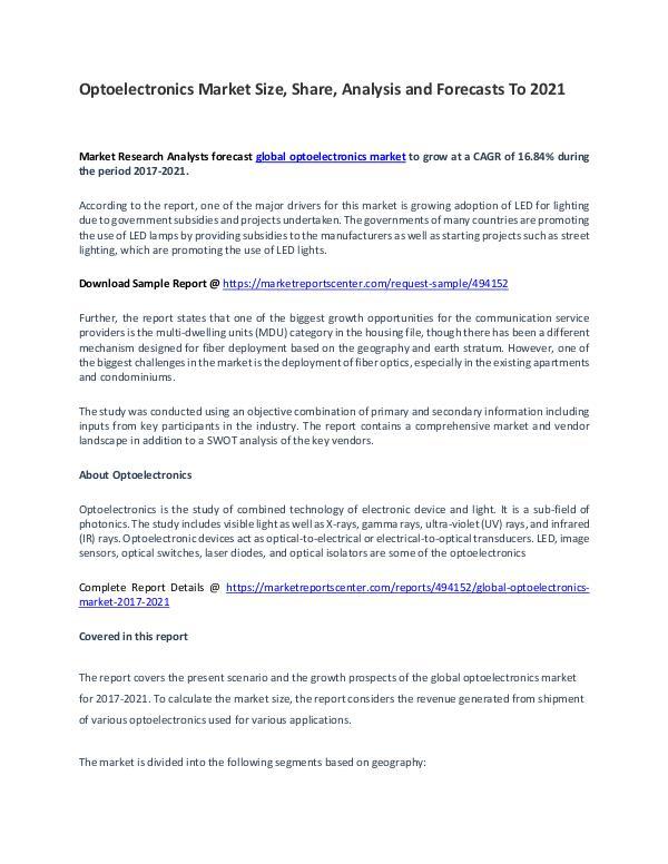 Optoelectronics Market Report Analysis to 2021 Optoelectronics Market