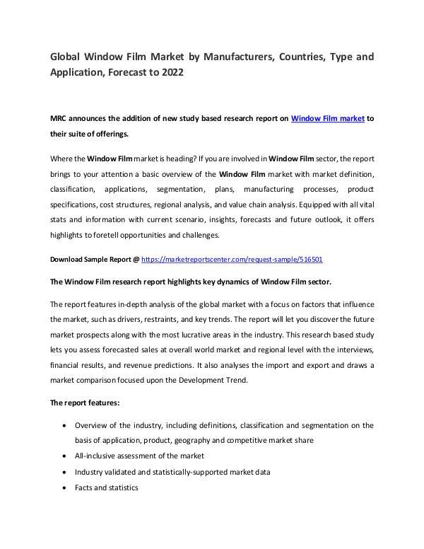 Window Film Market Manufacturers, Region, Application  and Forecast Window Film Market