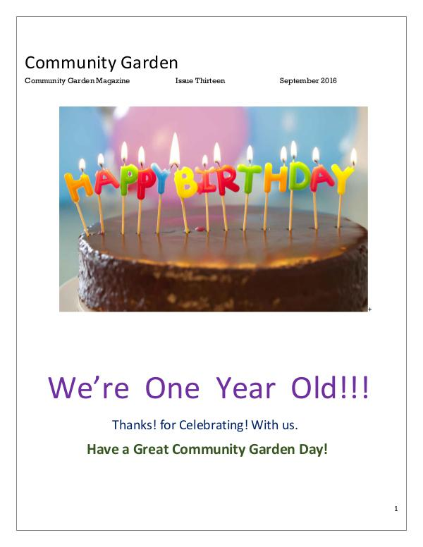 Community Garden Magazine Issue Thirteen September 2016