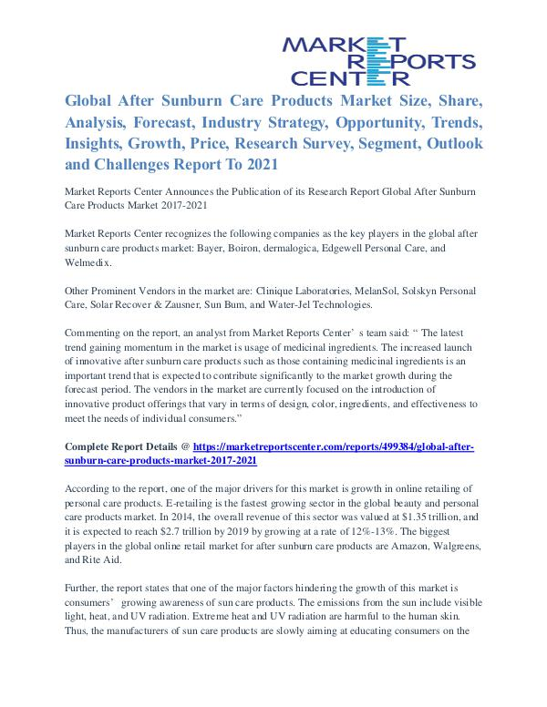 After Sunburn Care Products Market Future Trends To 2021 After Sunburn Care Products Market