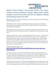 Carbon Capture and Storage Market Major Players Analysis Till 2021