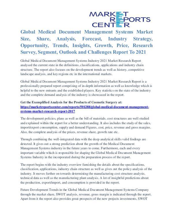 Medical Document Management Systems Market Analysis To 2021 Medical Document Management Systems Market