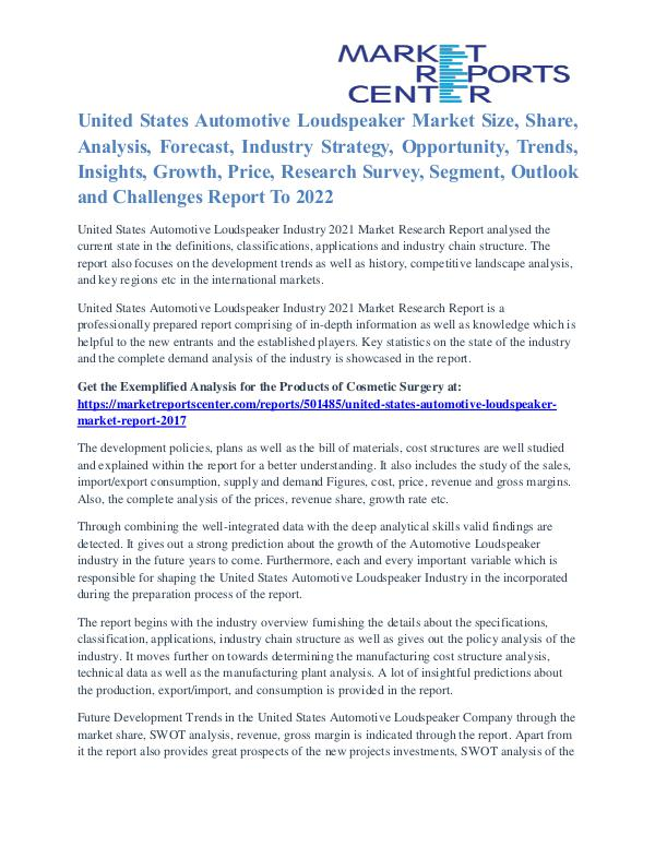 United States Automotive Loudspeaker Market Growth Analysis To 2022 United States Automotive Loudspeaker Market