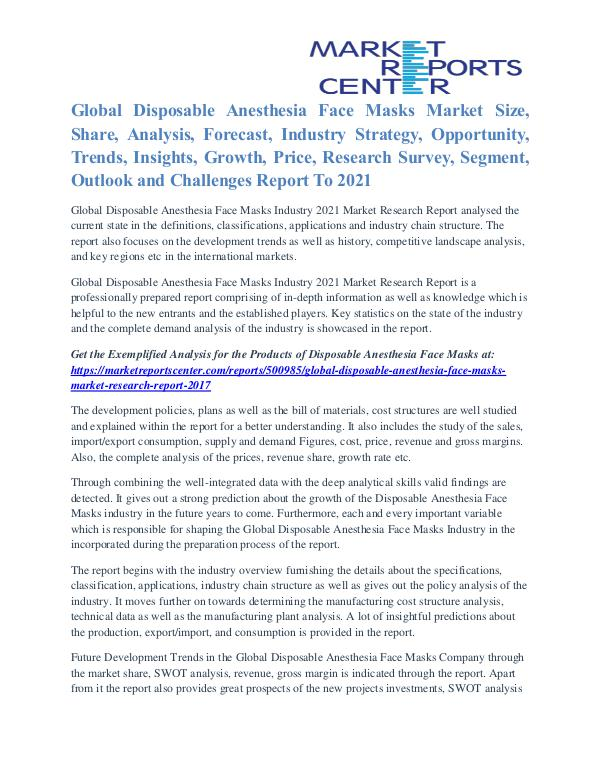 Disposable Anesthesia Face Masks Market Competitive Analysis To 2021 Disposable Anesthesia Face Masks Market