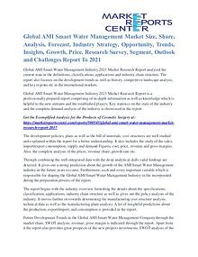 AMI Smart Water Management Market Future Trends And Analysis To 2021