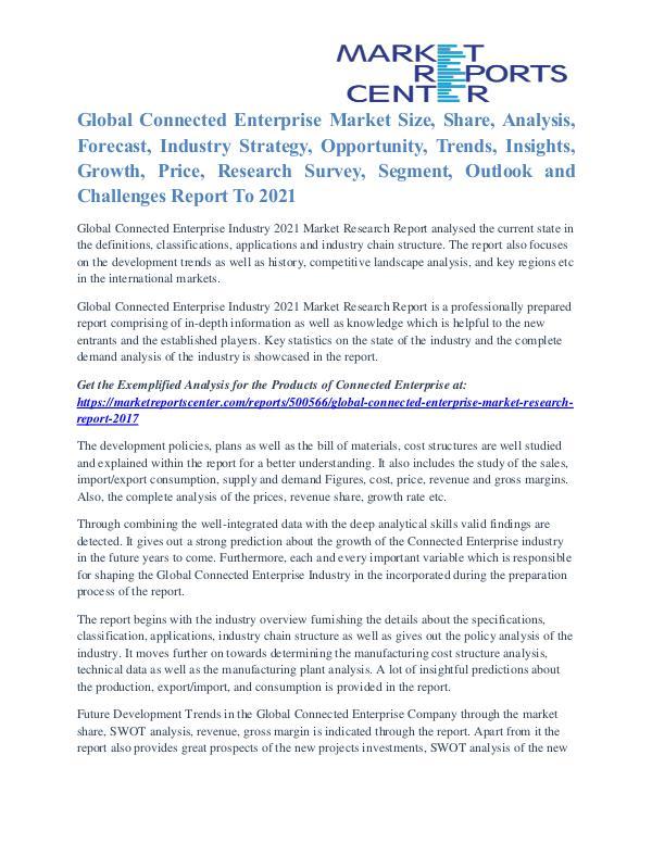 Connected Enterprise Market Segmentation and Growth Analysis To 2021 Connected Enterprise Market