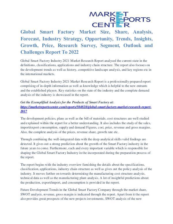 Smart Factory Market Opportunities, Technology & Segmentation To 2021 Smart Factory Market