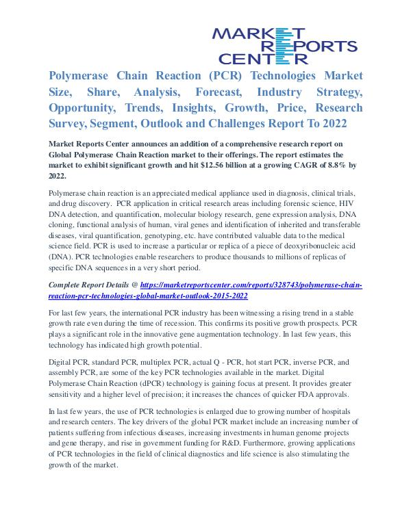 Polymerase Chain Reaction (PCR) Technologies Market Key Vendors 2022 Polymerase Chain Reaction (PCR) Technologies