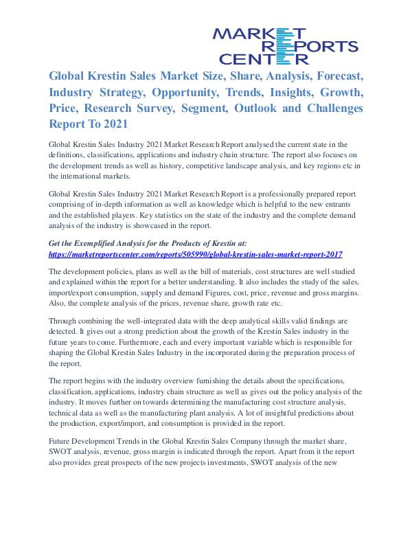 Krestin Sales Market Growth Opportunities & Restraints to 2021 Global Krestin Sales Market