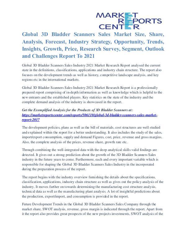 3D Bladder Scanners Sales Market Growth, Opportunity Till 2021 3D Bladder Scanners Sales Market