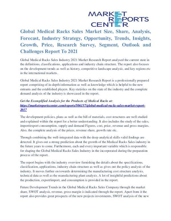 Medical Racks Sales Market Growth Rate, Key Company Profile To 2021 Medical Racks Sales Market