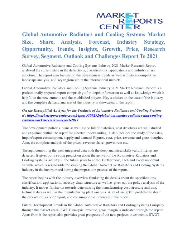 Automotive Radiators and Cooling Systems Market Trends To 2021 Automotive Radiators and Cooling Systems Market