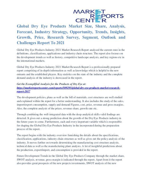 Dry Eye Products Market Growth, Key Company Profile Forecast 2021 Dry Eye Products Market