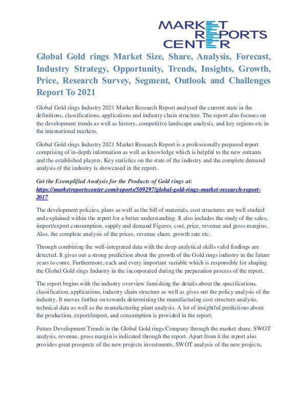 Gold Rings Market Overview, Manufacturing Cost Structure To 2021 Gold rings Market