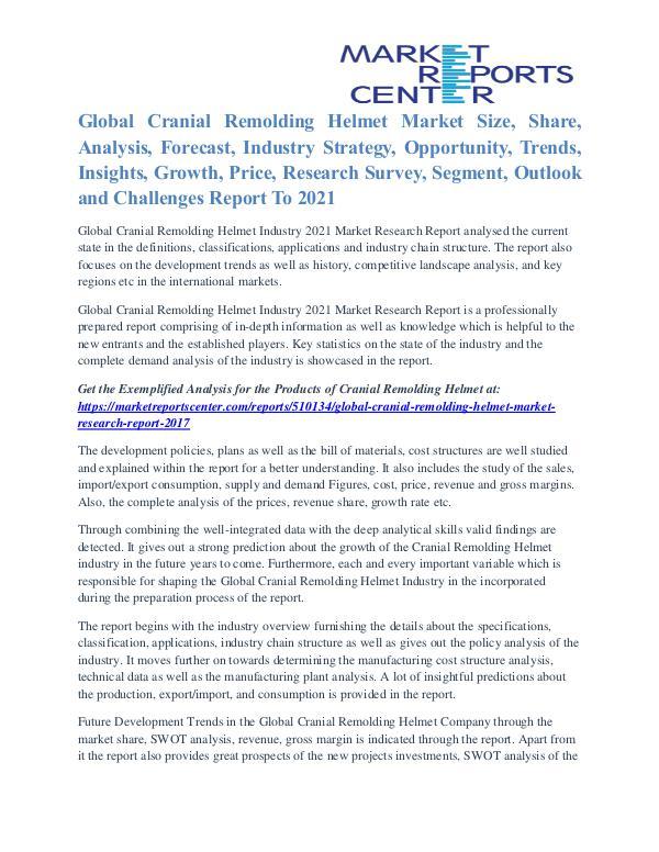 Cranial Remolding Helmet Market Business Outlook To 2021 Cranial Remolding Helmet Market