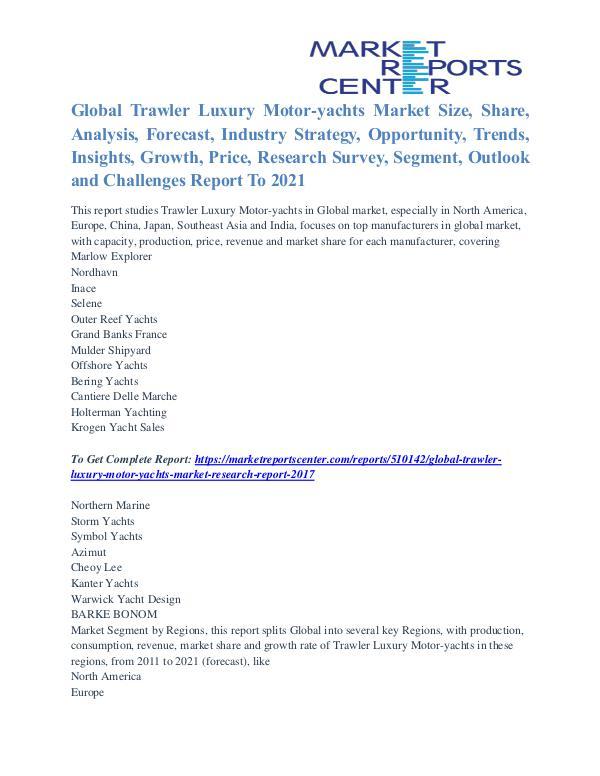 Trawler Luxury Motor-yachts Market Segmentation & Major Players 2021 Trawler Luxury Motor-yachts Market