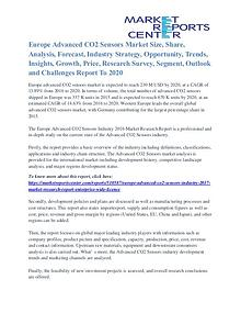 Europe Advanced CO2 Sensors Market Region, Application, Driver 2020