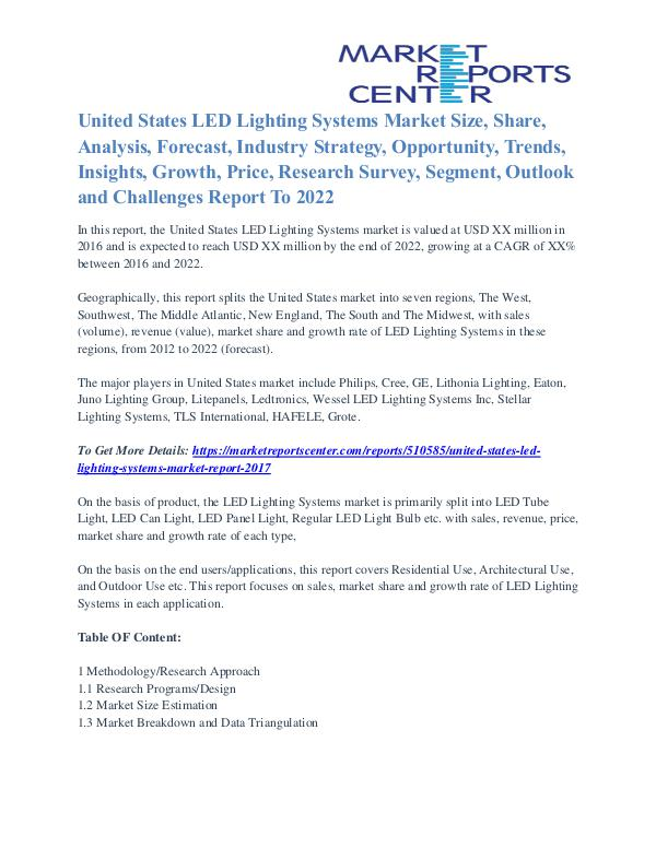 United States LED Lighting Systems Market Opportunity Till 2022 United States LED Lighting Systems Market