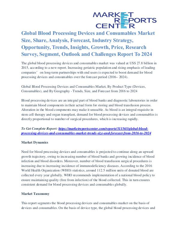 Blood Processing Devices and Consumables Market Share Analysis 2024 Blood Processing Devices and Consumables Market