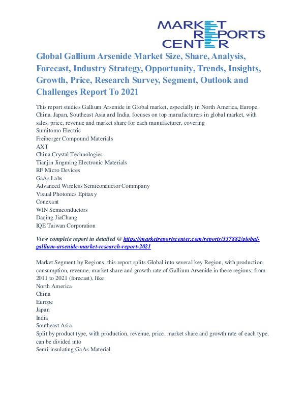 Gallium Arsenide Market Business Outlook and Procurement Survey 2021 Gallium Arsenide Market