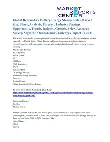 Renewables Battery Energy Storage Sales Market Future Trends To 2021