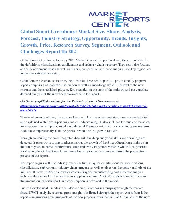 Smart Greenhouse Market Competitive Analysis and Development by 2021 Smart Greenhouse Market