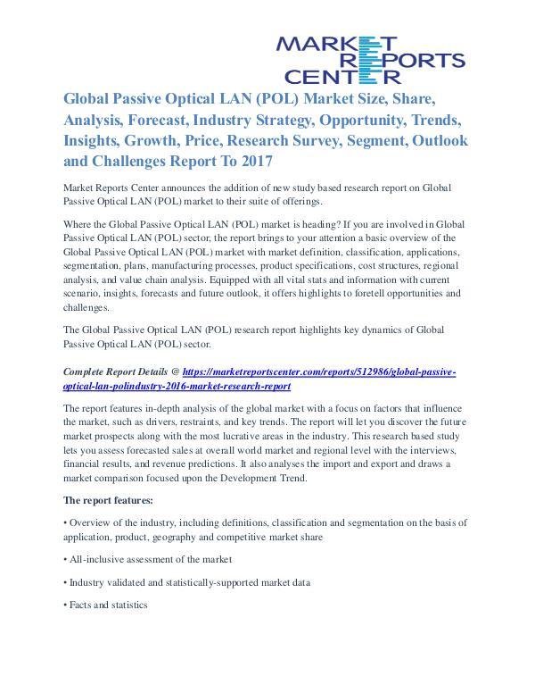 Passive Optical LAN (POL) Market Key Vendors, Driver, Challenge 2017 Passive Optical LAN (POL)Industry