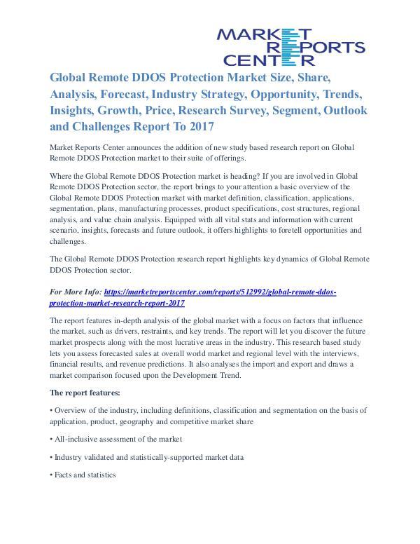 Remote DDOS Protection Market Segmentation and Analysis by 2017 Remote DDOS Protection Market