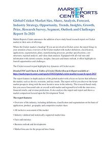 Global Cricket Market Future Trends And Industry Analysis To 2021