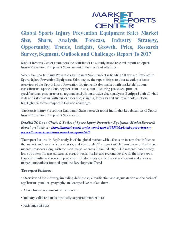 Sports Injury Prevention Equipment Sales Market Future Outlook 2017 Sports Injury Prevention Equipment Sales Market
