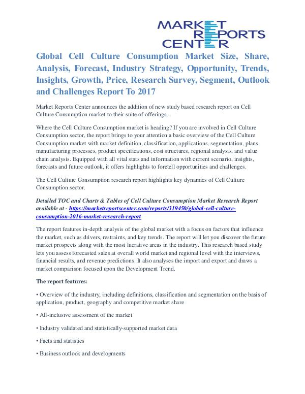 Cell Culture Consumption Market Price Trends And Segment To 2017 Cell Culture Consumption 2016 Market