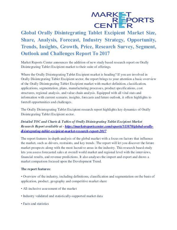 Orally Disintegrating Tablet Excipient Market Growth Drivers To 2017 Orally Disintegrating Tablet Excipient Market