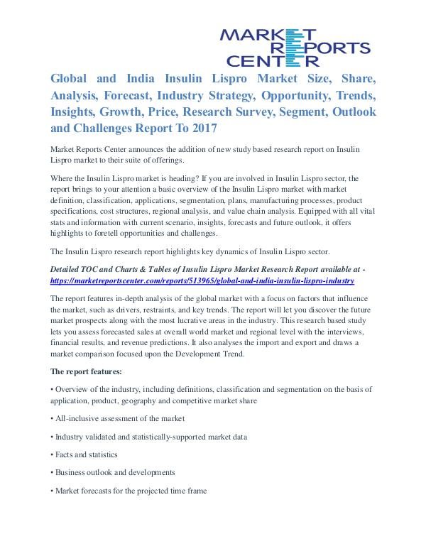 Global and India Insulin Lispro Market Business Outlook To 2017 Global and India Insulin Lispro Industry