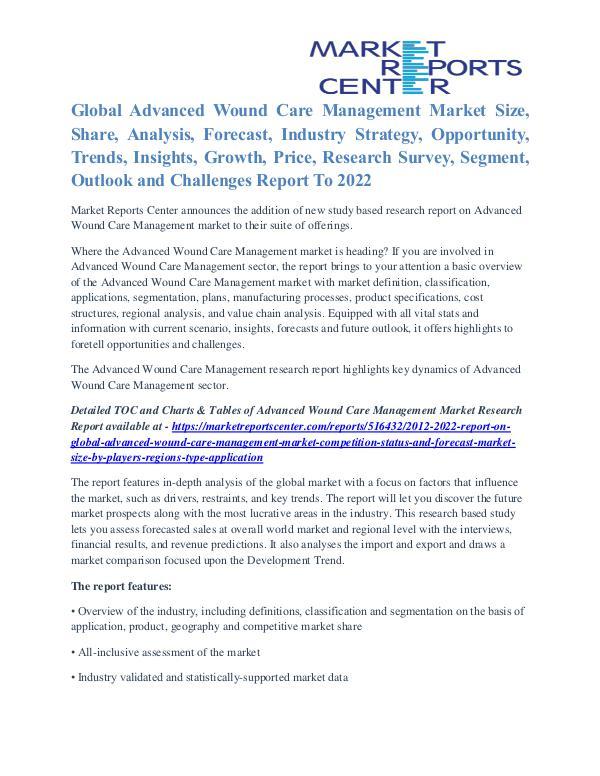 Advanced Wound Care Management Market Application, Price Trends 2022 Advanced Wound Care Management Market