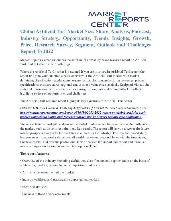 Artificial Turf Market Overview And Competitive Analysis To 2022 Artificial Turf Market