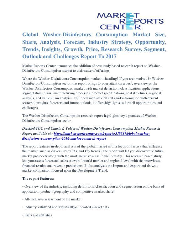 Washer-Disinfectors Consumption Market Demand Analysis To 2017 Washer-Disinfectors Consumption 2016 Market