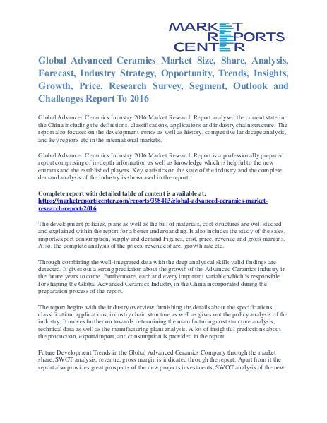 Advanced Ceramics Market Size, Application Potential And Trends 2016 Advanced Ceramics Market Research Report 2016