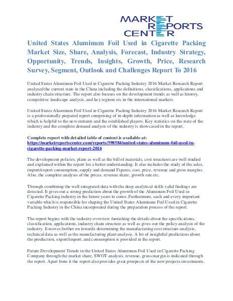 Aluminum Foil Used in Cigarette Packing Market Size To 2016 United States Aluminum Foil Used in Cigarette