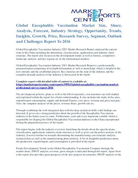 Encephalitis Vaccination Market Size, Industry Analysis Report 2016 Encephalitis Vaccination Market
