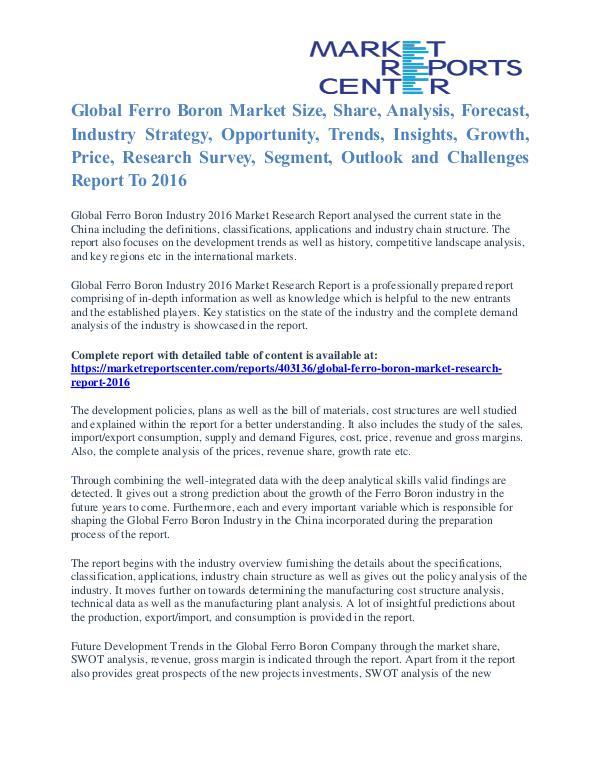 Ferro Boron Market Key Vendors, Trends and Forecasts to 2016 Ferro Boron Market