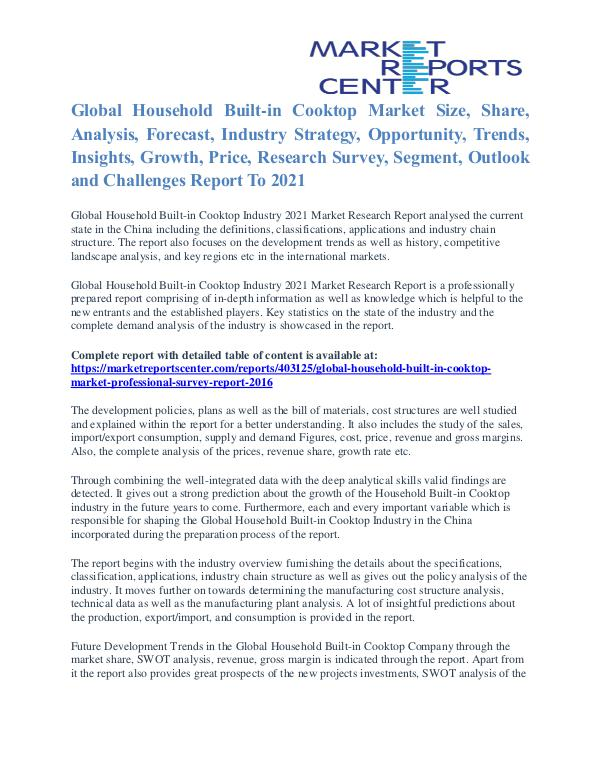 Household Built-In Cooktop Market Price & Gross Margin Analysis 2021 Household Built-in Cooktop Market