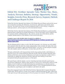 Dry Fertilizer Spreader Sales Market Size, Industry Analysis To 2016