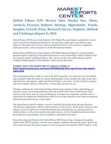 Fitness GPS Devices Sales Market Cost and Revenue Report To 2016