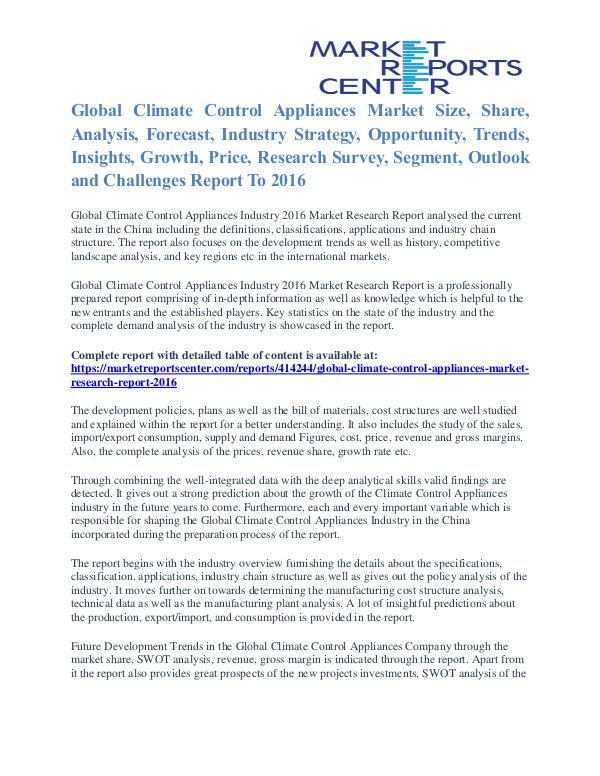 Climate Control Appliances Market Share, Size, Emerging Trends 2016 Climate Control Appliances Market