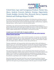 United States Agar and Carrageenan Products Market Opportunity 2016
